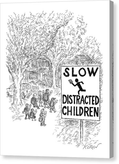 Street Signs Canvas Print - New Yorker October 17th, 2016 by Edward Koren