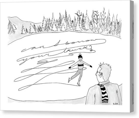 Figure Skating Canvas Print - New Yorker February 14th, 2005 by Emily S. Hopkins