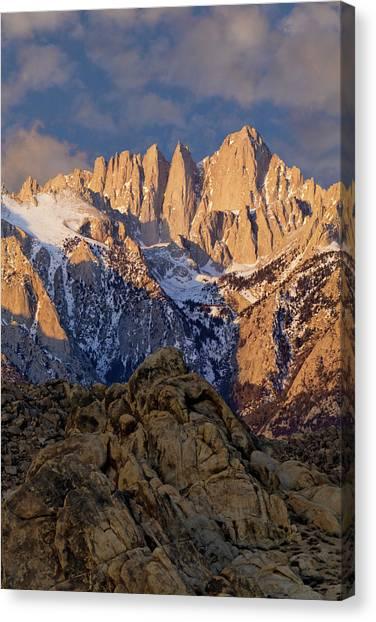 Arid Canvas Print - Usa, California Sunrise On Mt Whitney by Jaynes Gallery