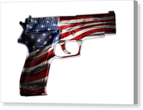 Gun Control Canvas Print - Usa Gun  by Les Cunliffe