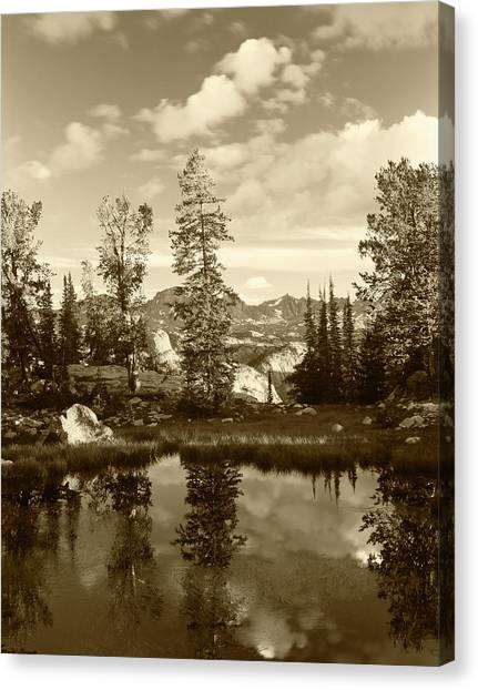Teton National Forest Canvas Print - Usa, Wyoming, Landscape With Reflection by Scott T. Smith