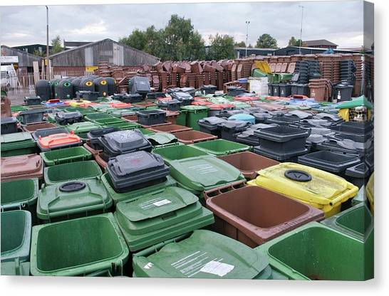 Rubbish Bin Canvas Print - Used And Damaged Wheelie Bins In Compound by Robert Brook/science Photo Library