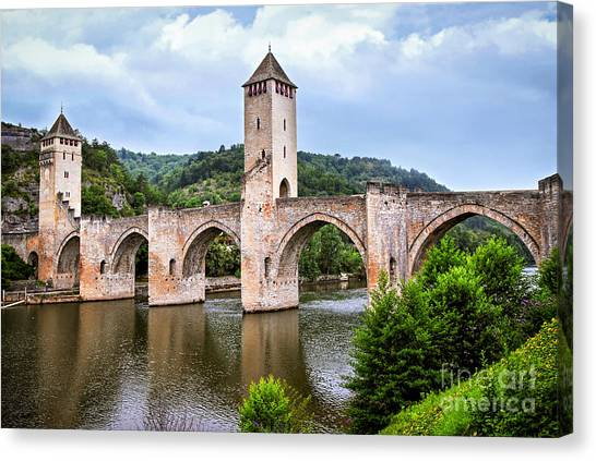 Fortification Canvas Print - Valentre Bridge In Cahors France by Elena Elisseeva
