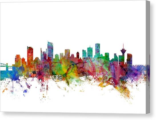 British Columbia Canvas Print - Vancouver Canada Skyline by Michael Tompsett
