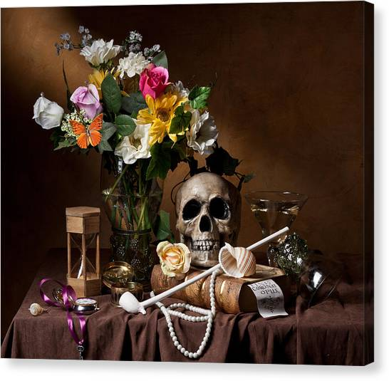 Vanitas With Flowers Bouquet-skull-hourglass-clay Pipe And Glassware Canvas Print