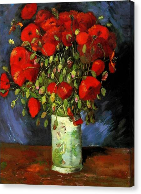 Vase With Red Poppies Canvas Print