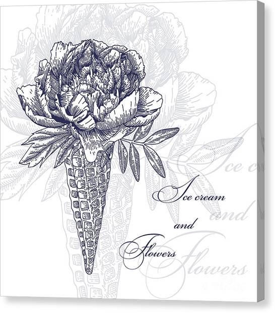 Engraving Canvas Print - Vector Flowers In Waffle Cone. Bouquet by Innakote