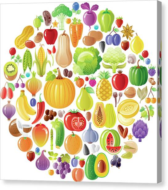 Vegetarian Rainbow Plate Withe Fruits Canvas Print by O-che