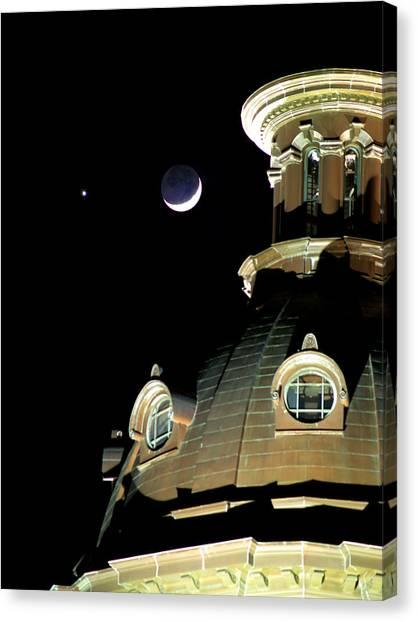 Venus And Crescent Moon-1 Canvas Print