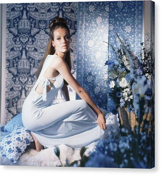 Veruschka Wearing Blue Nightgown Canvas Print by Horst P. Horst