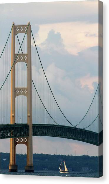 Mac Canvas Print - View Of The Mackinac Bridge Connecting by David R. Frazier