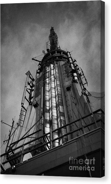 Manhatan Canvas Print - View Of The Top Of The Empire State Building Radio Mast New York City by Joe Fox