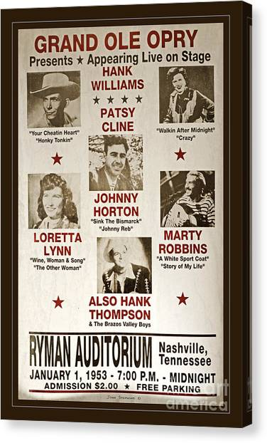 Vintage 1953 Grand Ole Opry Poster Canvas Print