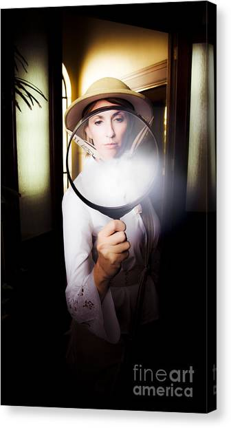 Archaeologists Canvas Print - Vintage Archaeologist With Large Magnifying Glass by Jorgo Photography - Wall Art Gallery