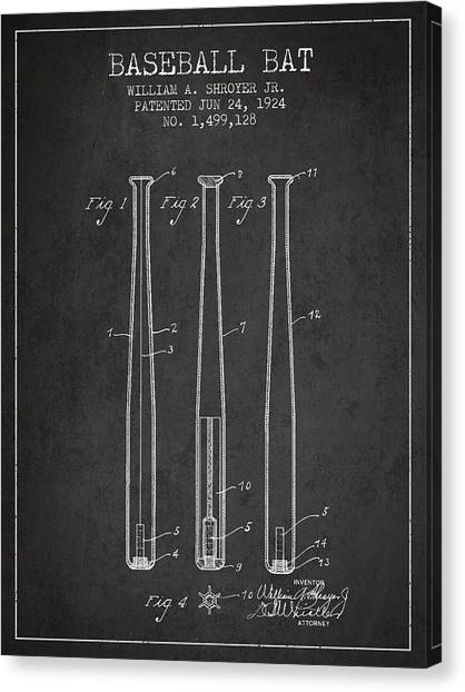 Baseball Bats Canvas Print - Vintage Baseball Bat Patent From 1924 by Aged Pixel