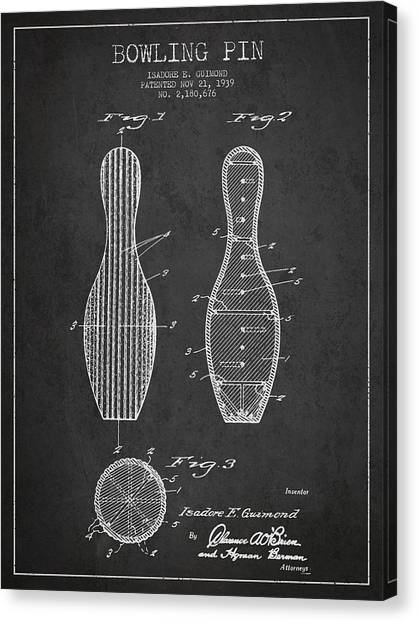 Bowling Ball Canvas Print - Vintage Bowling Pin Patent Drawing From 1939 by Aged Pixel