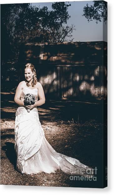 Wedding Gown Canvas Print - Vintage Elegant Bride At Rural Australian Wedding by Jorgo Photography - Wall Art Gallery