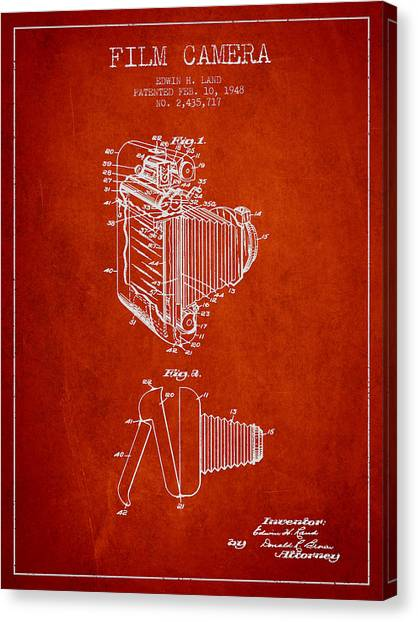 Vintage Camera Canvas Print - Vintage Film Camera Patent From 1948 by Aged Pixel