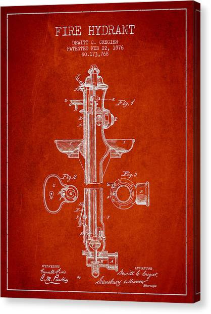 Firefighters Canvas Print - Vintage Fire Hydrant Patent From 1876 by Aged Pixel