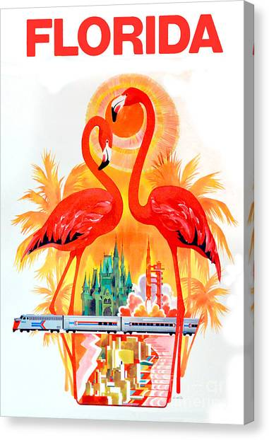 Flamingos Canvas Print - Vintage Florida Travel Poster by Jon Neidert