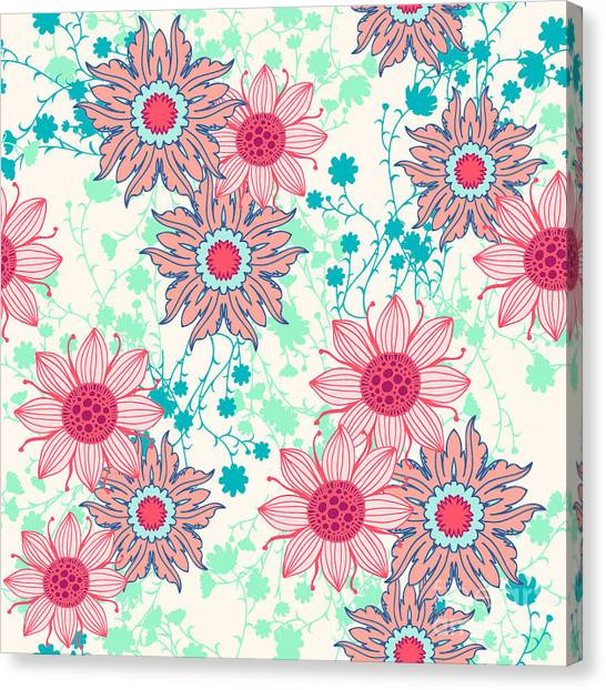 Clothing Canvas Print - Vintage Flower Pattern Print For by Studio K