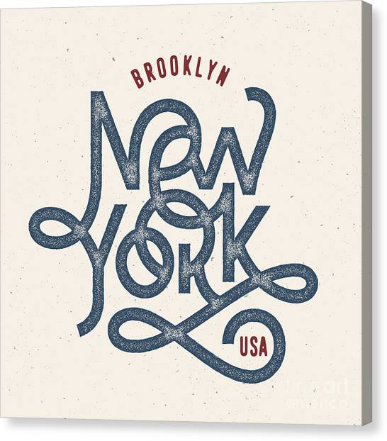 Vintage Hand Lettered Textured New York Canvas Print by Tortuga