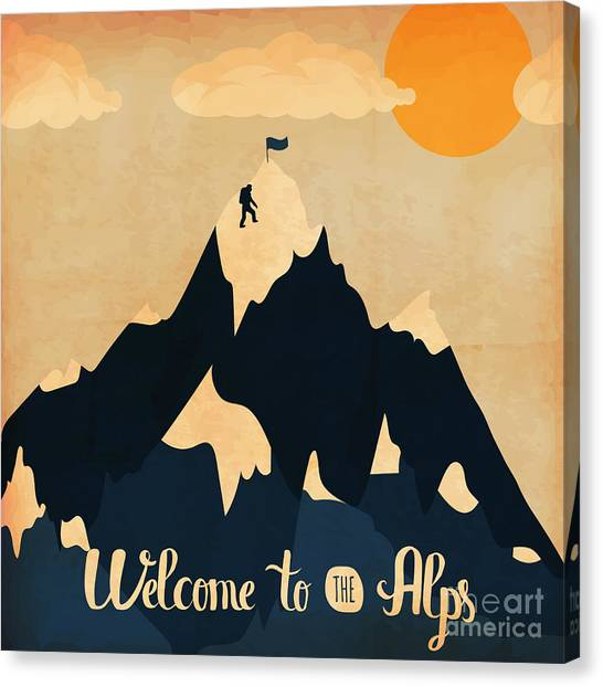 Background Canvas Print - Vintage Handlettering Poster On The by Alena Dubinets