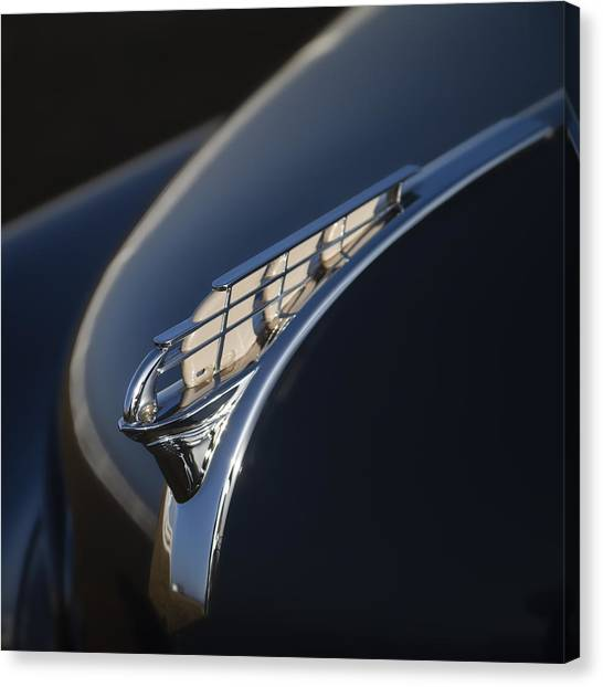 1950s Canvas Print - Vintage Plymouth Hood Ornament by Carol Leigh