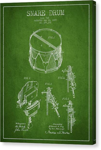 Snares Canvas Print - Vintage Snare Drum Patent Drawing From 1889 - Green by Aged Pixel
