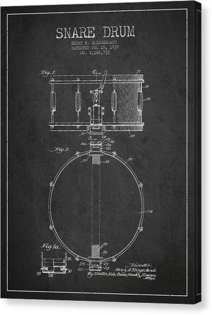 Snares Canvas Print - Snare Drum Patent Drawing From 1939 - Dark by Aged Pixel