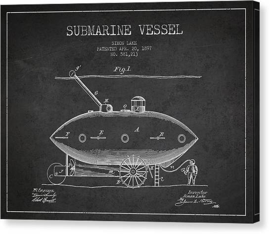 Submarine Canvas Print - Vintage Submarine Vessel Patent From 1897 by Aged Pixel