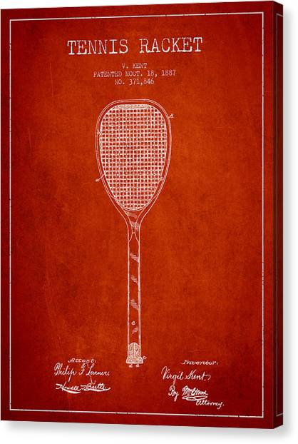 Tennis Ball Canvas Print - Vintage Tennnis Racketl Patent Drawing From 1887 by Aged Pixel