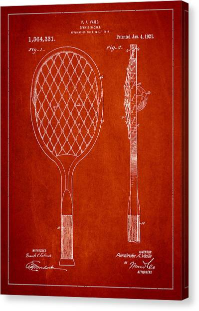 Tennis Ball Canvas Print - Vintage Tennnis Racketl Patent Drawing From 1921 by Aged Pixel