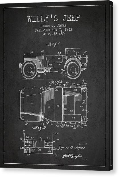 Off Canvas Print - Vintage Willys Jeep Patent From 1942 by Aged Pixel