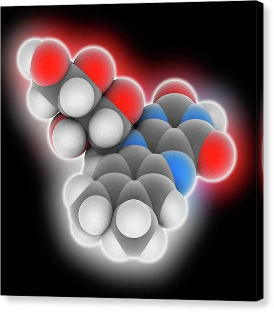 Biochemistry Canvas Print - Vitamin B2 Riboflavin Molecule by Laguna Design