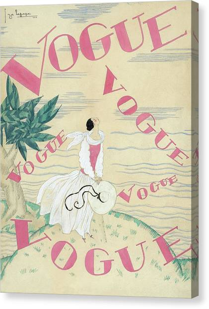 Vogue Magazine Cover Featuring A Woman Standing Canvas Print by Georges Lepape