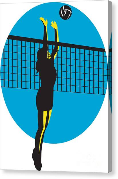 Volleyball Canvas Print - Volleyball Player Spiking Ball Retro by Aloysius Patrimonio