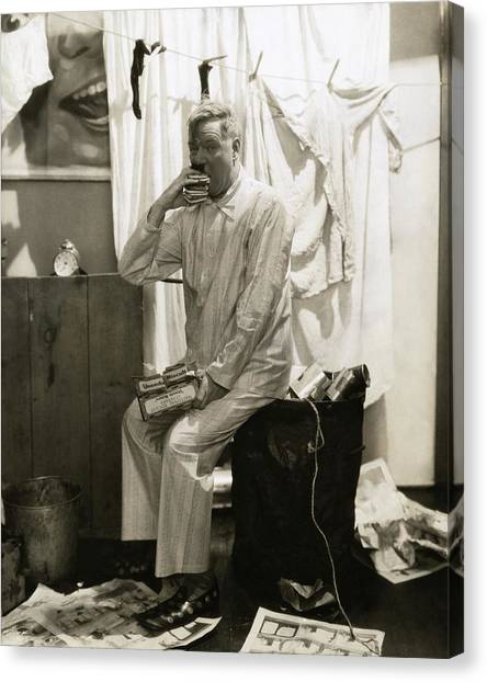 W. C. Fields Wearing Pyjamas Canvas Print by Edward Steichen