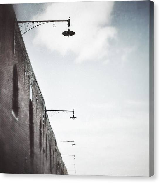 Canvas Print featuring the photograph Warehouse Lamps by Steve Stanger