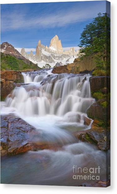 Andes Mountains Canvas Print - Waterfall In Los Glaciares Np by Yva Momatiuk John Eastcott