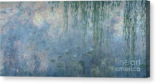 Weeping Willows Canvas Print - Waterlilies Morning With Weeping Willows by Claude Monet