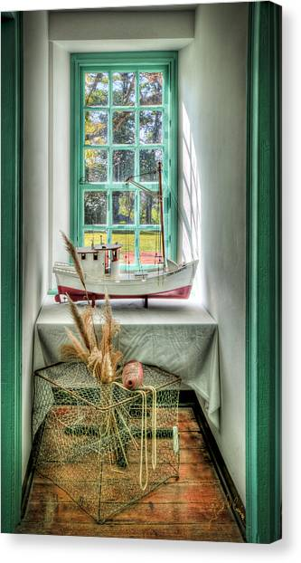 Canvas Print featuring the photograph Watermans Window by Williams-Cairns Photography LLC