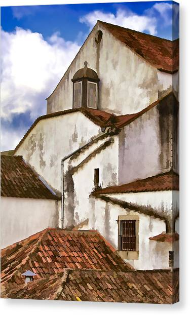 Weathered Buildings Of The Medieval Village Of Obidos Canvas Print