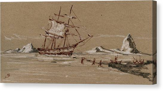 Ivory Canvas Print - Whaler Ship by Juan  Bosco