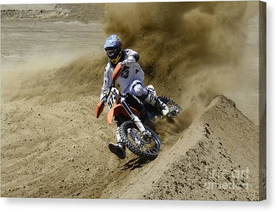 Motocross Canvas Print - Motocross What A Rush by Bob Christopher