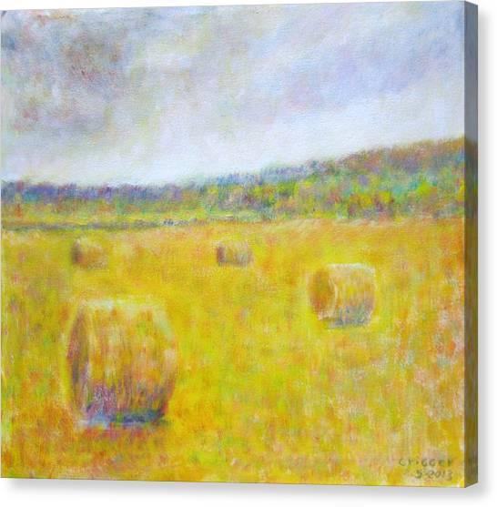 Wheat Bales At Harvest Canvas Print