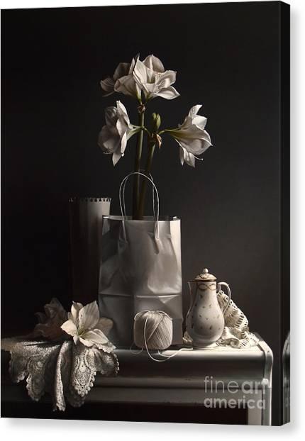 Amaryllis Canvas Print - White On White by Lawrence Preston