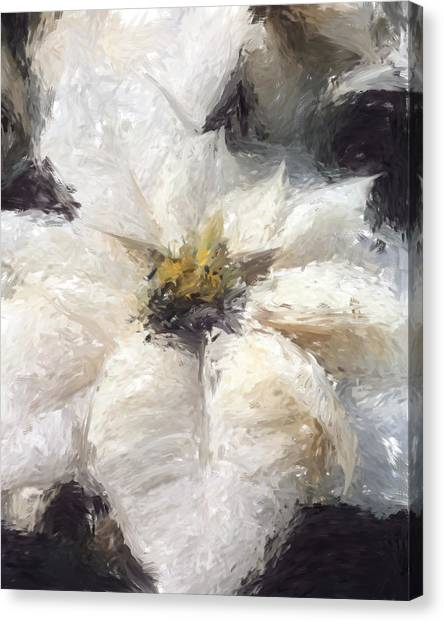 Canvas Print featuring the painting White Poinsettias Christmas Card by Jennifer Hotai