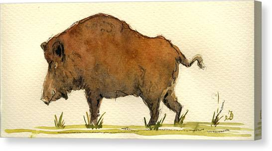 Hogs Canvas Print - Wild Boar by Juan  Bosco