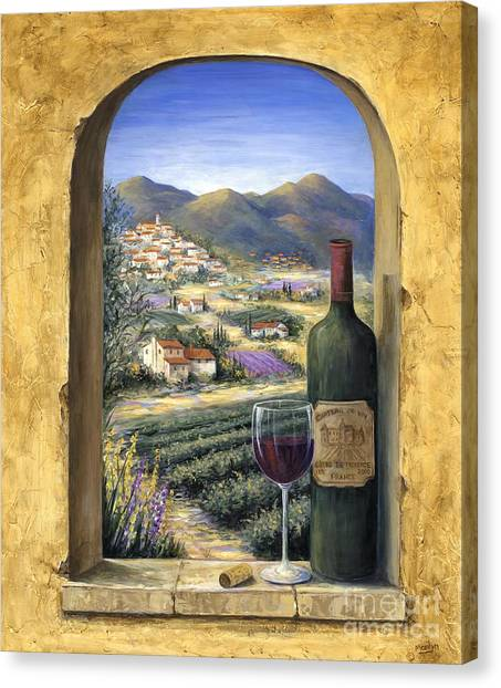 Wine Art Canvas Print - Wine And Lavender by Marilyn Dunlap